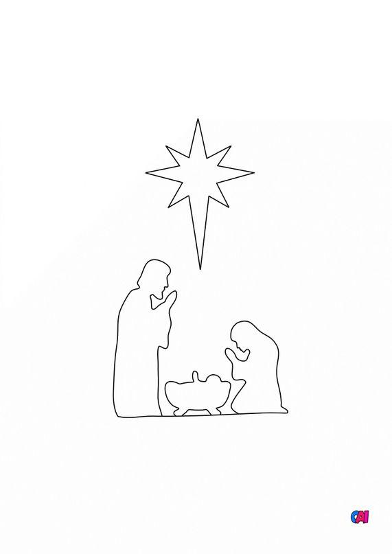 Coloriage de Noël - La Nativité