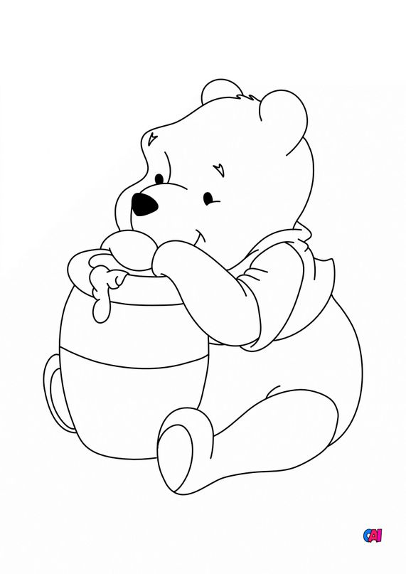 Coloriage Winnie l'ourson - Winnie l'ourson et son pot de miel