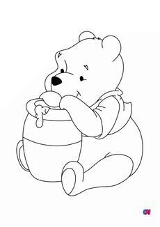 Coloriage Winnie l'ourson et son pot de miel