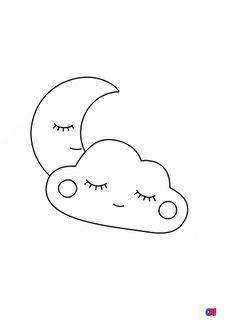 Coloriage Lune et nuage