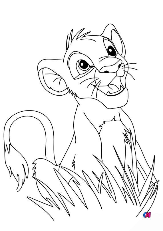 Coloriage Roi Lion - Simba jouant