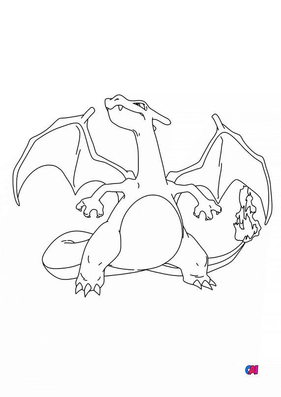 Coloriage Pokémon - 6 - Dracaufeu