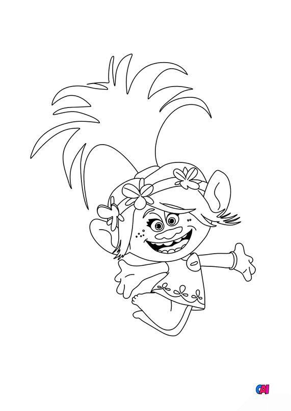 Coloriage Les Trolls - Poppy saute