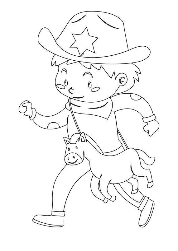 Coloriages de cowboys - Petit cowboy