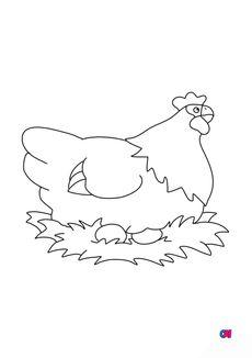 Coloriage La poule