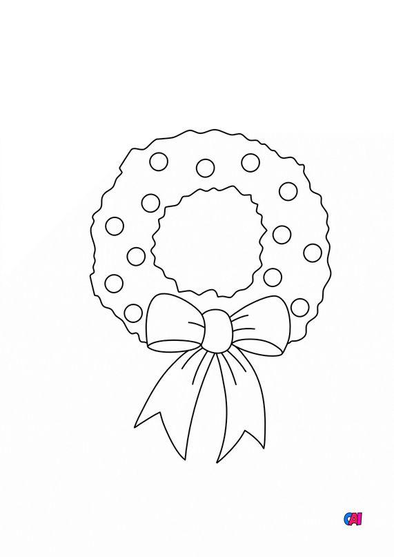 Coloriage de Noël - Couronne de Noël 2