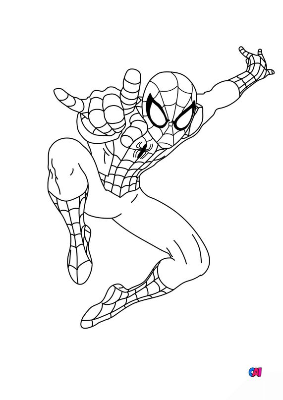 Coloriage Spiderman A Imprimer Spiderman Tisse Sa Toile