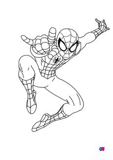 Coloriage Spiderman tisse sa toile