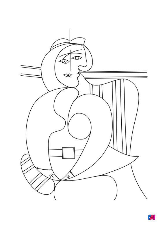 Coloriages de bâtiment et d'oeuvres d'art - Femme assise dans un fauteuil rouge - Picasso