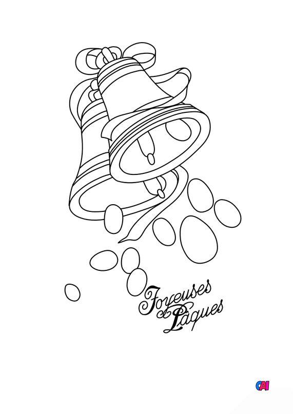 Coloriage Pâques - Joyeuses Pâques Cloches