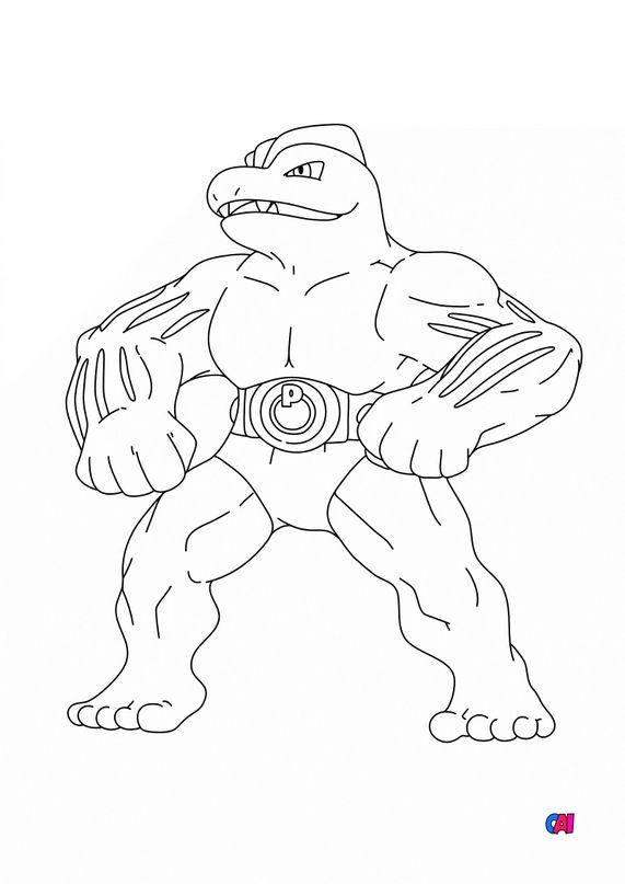 Coloriage Pokémon - 67 - Machopeur