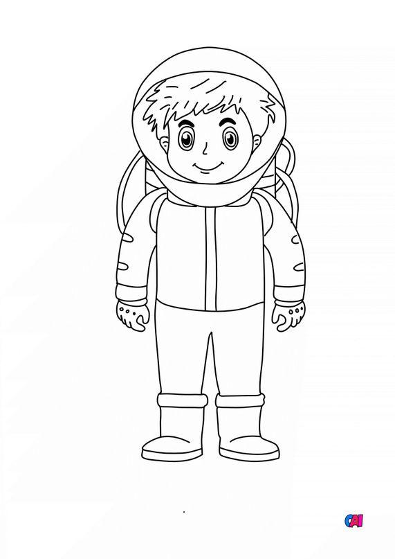 Coloriage astronautes et cosmonautes - Astronautes