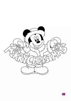 Coloriage Noël - Mickey Joyeux Noël
