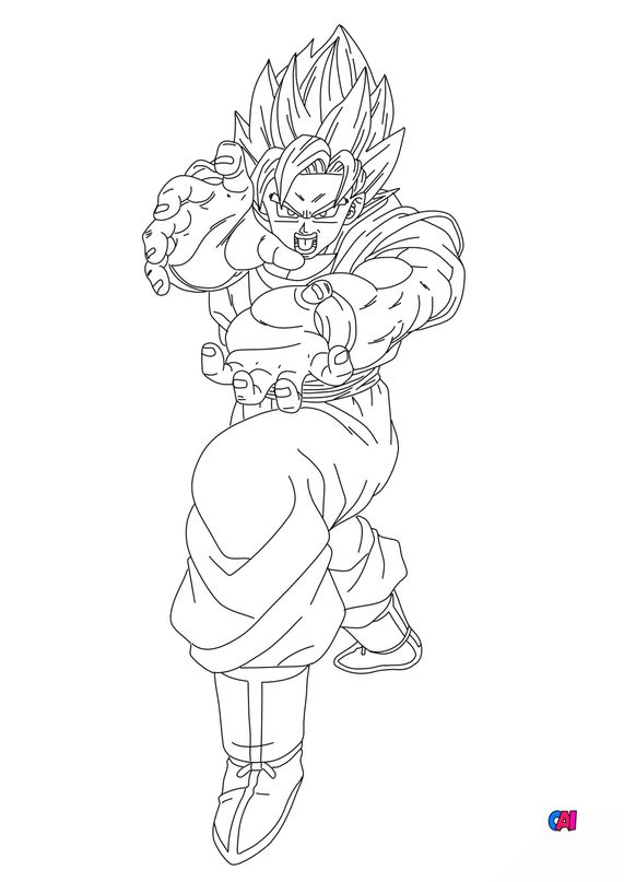 Coloriage dragon ball z - San Goku kamehameha