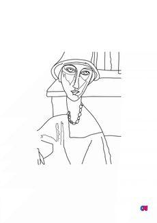 Coloriage Jeanne Hébuterne - Modigliani