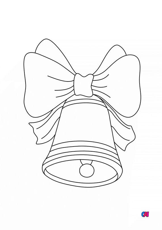 Coloriage de Noël - Cloche et ruban