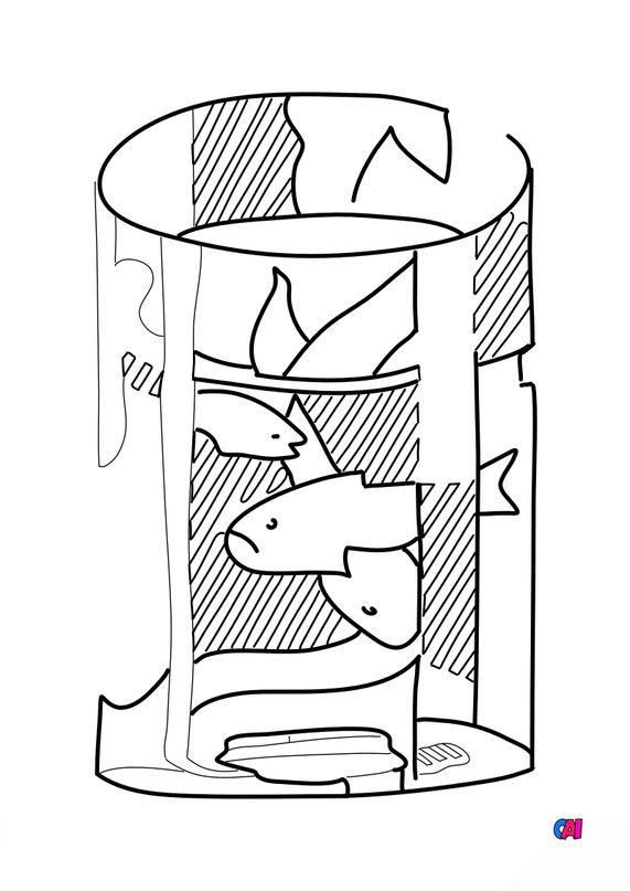 Coloriages de bâtiment et d'oeuvres d'art - Le bocal a poissons rouges II - Roy Lichtenstein