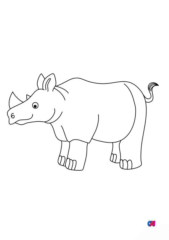 Coloriages d'animaux - Un rhinocéros