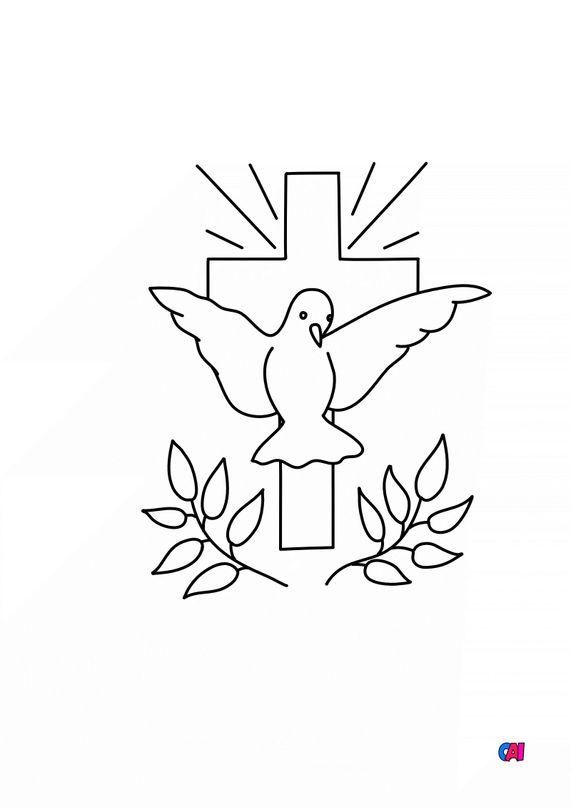 Coloriage Pâques - Colombe croix rameaux