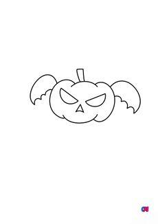 Coloriage Citrouille volante