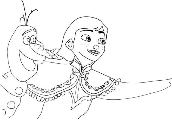 Coloriage la reine des neiges - Anna et Olaf