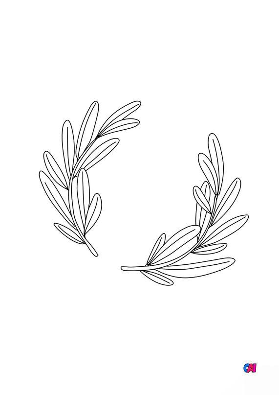 Coloriage Pâques - Feuilles de rameaux