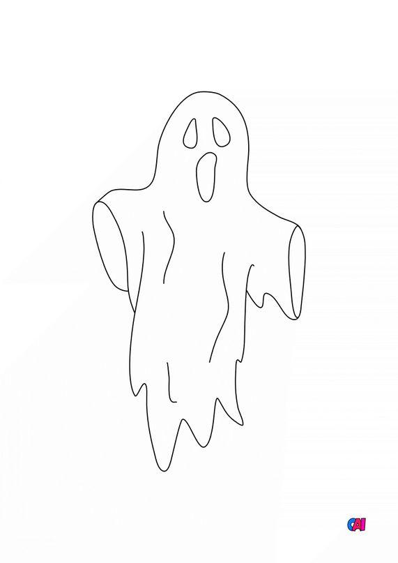 Coloriages Halloween - fantôme errant