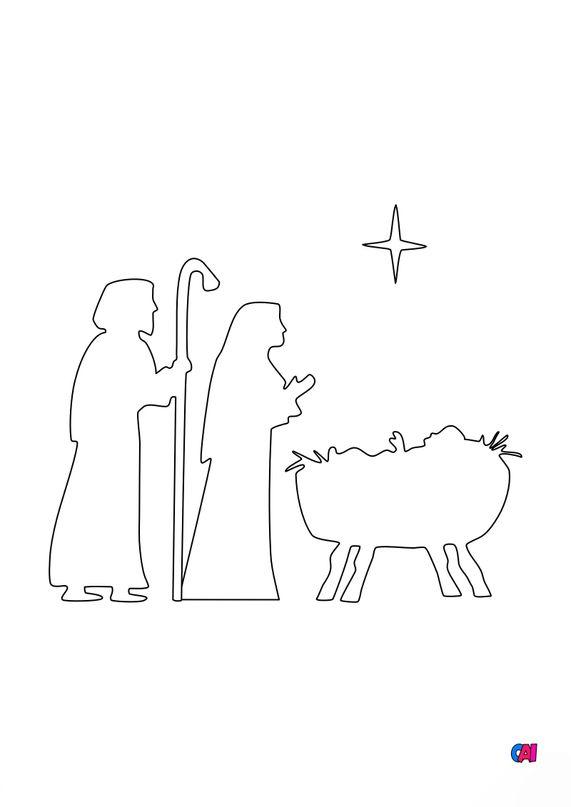 Coloriage de Noël - La Nativité 2