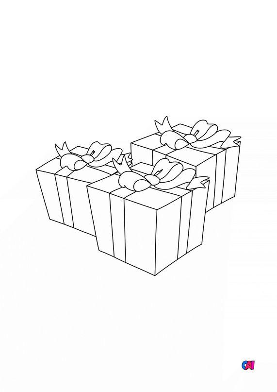 Coloriage de Noël - Trois cadeaux