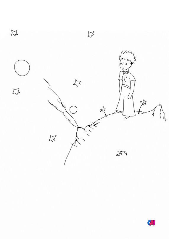 Coloriage Le petit Prince - Le petit prince sur son astéroïde B612