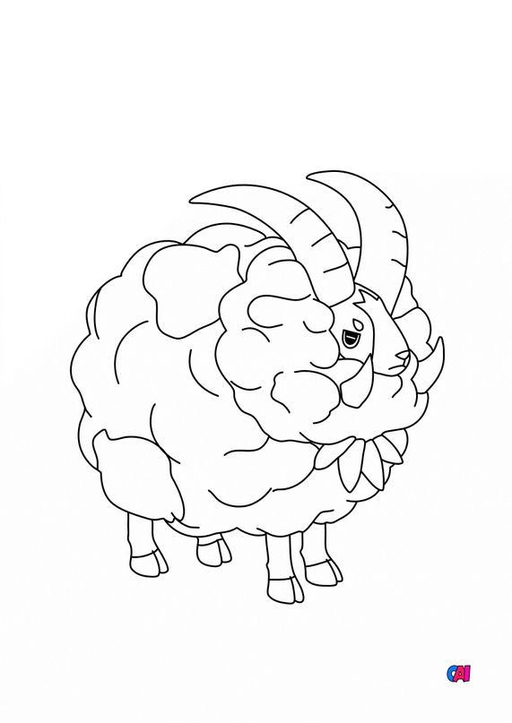 Coloriage Pokémon - 832 - Moumouflon