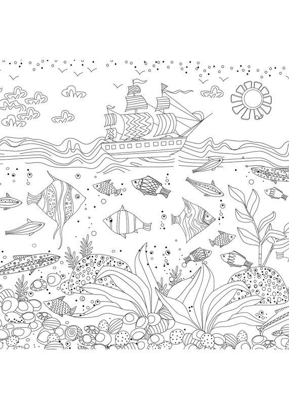 Coloriages d'animaux - le bateau pirate et les poissons