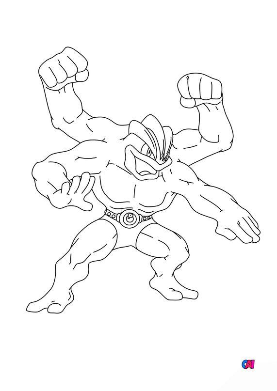 Coloriage Pokémon - 68 - Mackogneur