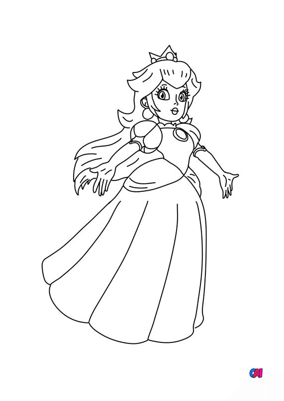 Coloriage Mario - Princesse Peach