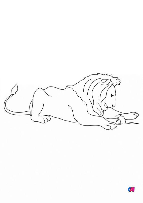 Coloriage des fables de La Fontaine - Le lion et le rat