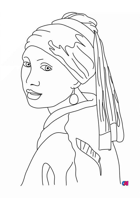 Coloriages de bâtiment et d'oeuvres d'art - la jeune fille a la perle Johannes Vermeer