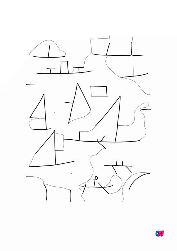Coloriages de bâtiment et d'oeuvres d'art - Port et voiliers - Paul Klee
