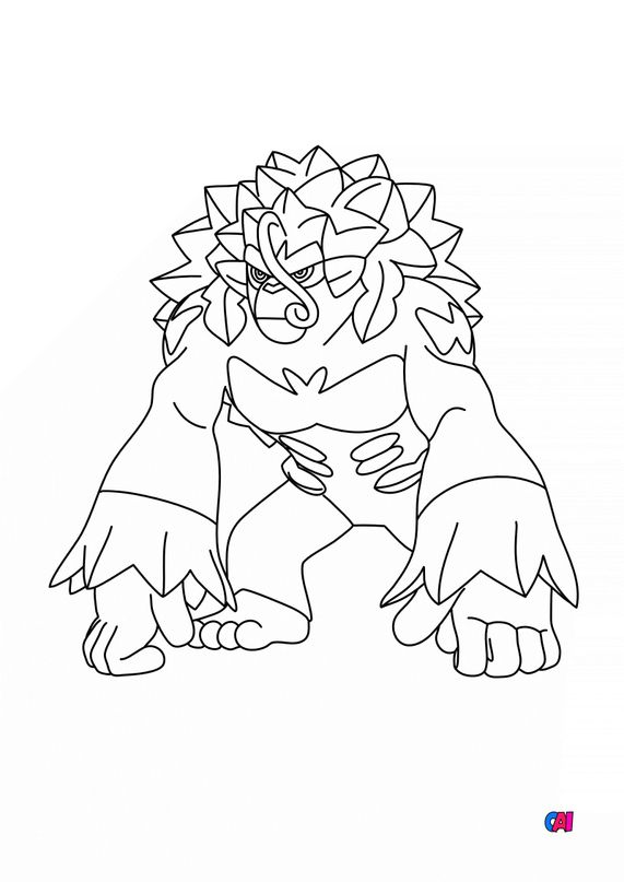 Coloriage Pokémon - 812 - Gorythmic
