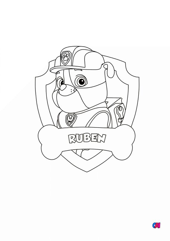 Coloriage Pat Patrouille - Ruben badge