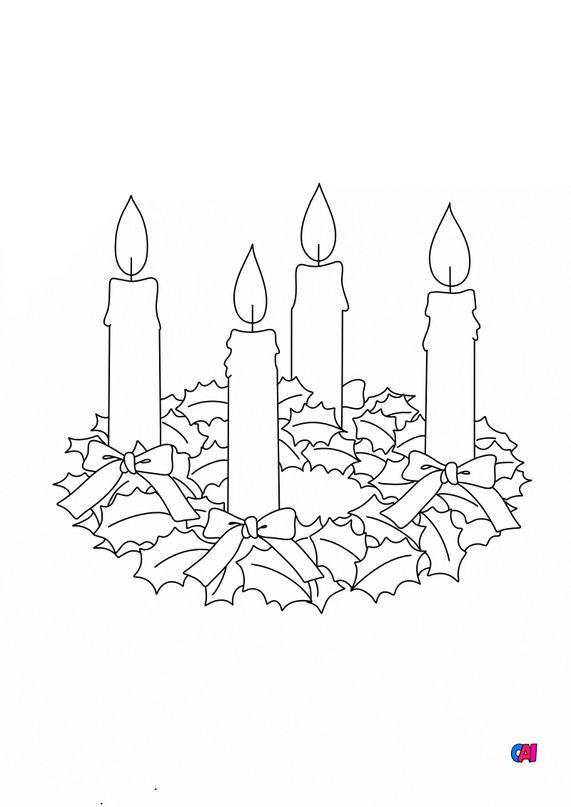 Coloriage de Noël - Les 4 bougies de l'avent